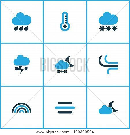 Climate Colorful Icons Set. Collection Of Wind, Moonshine, Thermometer And Other Elements. Also Includes Symbols Such As Thermometer, Rainbow, Cloud.