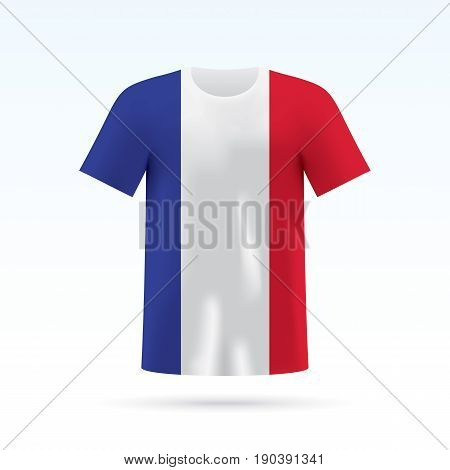 France flag printed on a T-shirt. Vector shirt template, isoalted on a white background.