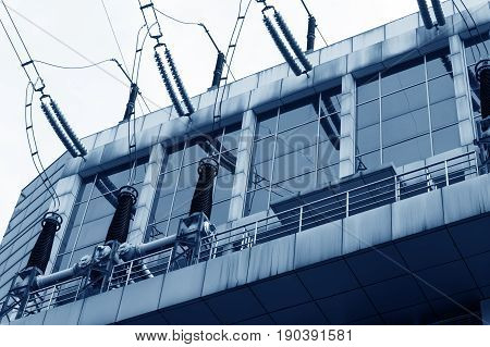 Substation equipment and dense lines blue tone map.