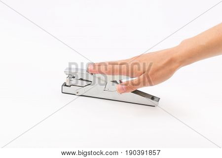 Female Hands On A White Background With A Stapler.