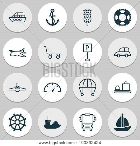 Shipping Icons Set. Collection Of Boat Helm, Stoplight, Roadsign And Other Elements. Also Includes Symbols Such As Hook, Airplane, Sail.