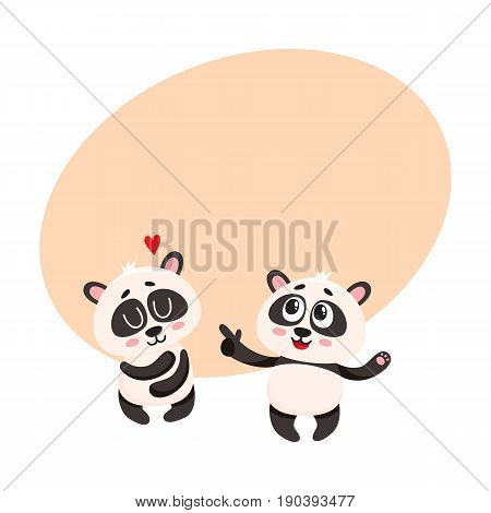 Two cute, funny smiling baby panda characters, one pointing to another hugging itself, cartoon vector illustration with space for text. Couple of cute panda bear characters, mascots, friends