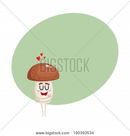 Funny porcini mushroom character showing love, hugging itself, cartoon vector illustration with space for text. Happy porcini mushroom character hugging itself, symbol of love