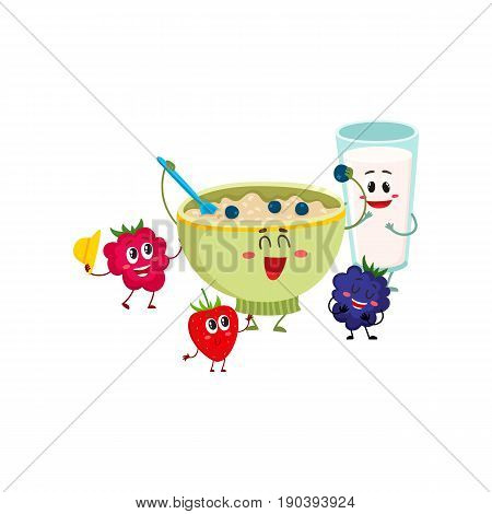 Funny smiling bowl of oatmeal porridge and raspberry, blackberry berry characters, cartoon vector illustration isolated on white background. Cute and funny oatmeal porridge bowl with milk glass