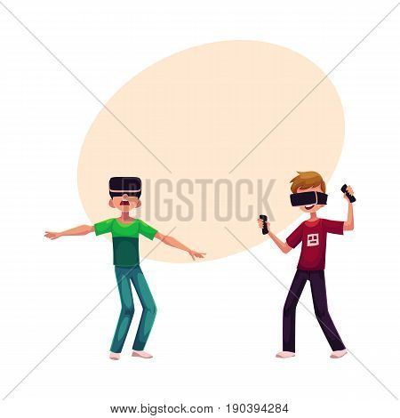 Two boys wearing virtual reality headsets, simulators, cartoon vector illustration with space for text. Couple of teenagers, boys playing with virtual reality simulators, headsets together