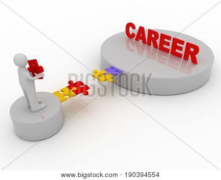 Brige To The Career Concept .  3D Rendered Illustration