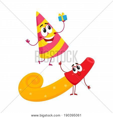 Smiling birthday party characters - spriped hat and horn, blower, noise maker, cartoon vector illustration isolated on white background. Funny birthday party hat and horn, blower characters, mascots