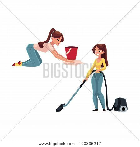 Pretty young woman, housewife washing and vacuum cleaning her house, doing housework, cartoon vector illustration isolated on white background. Beautiful woman girl washing floor, using vacuum cleaner