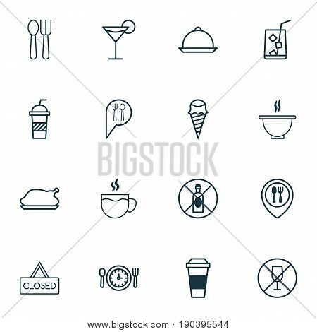 Restaurant Icons Set. Collection Of Bowl, No Drinking, Tea And Other Elements. Also Includes Symbols Such As Booking, Placard, Fork.