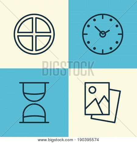 Network Icons Set. Collection Of Landscape Photo, Hourglass, Time Elements. Also Includes Symbols Such As Image, Add, Plus.