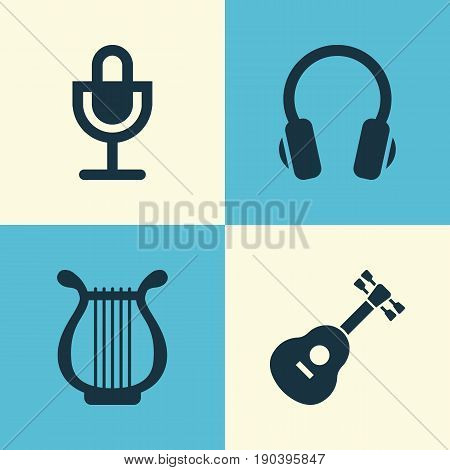 Audio Icons Set. Collection Of Lyre, Mike, Instrument And Other Elements. Also Includes Symbols Such As Guitar, Instrument, Mic.