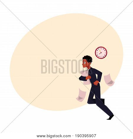 Black, African American businessman hurrying to work, being late, cartoon vector illustration with space for text. Black businessman, worker, employee harrying somewhere losing documents
