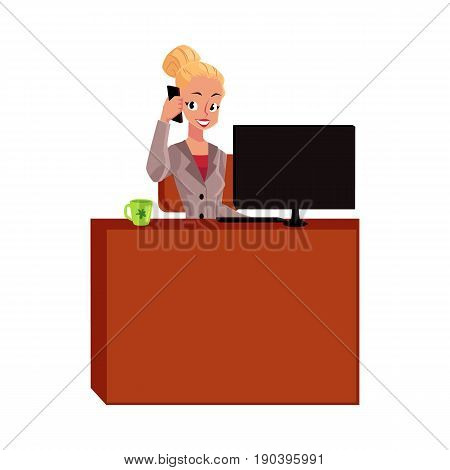 Young pretty blond businesswoman, secretary answering phone, calling at office table, cartoon vector illustration isolated on white background. Businesswoman, secretary, office manager answering phone