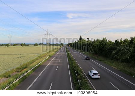 Empty highway / High-speed road in Germany