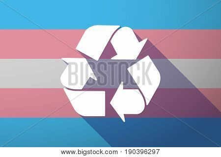 Long Shadow Transgender Flag With A Recycle Sign