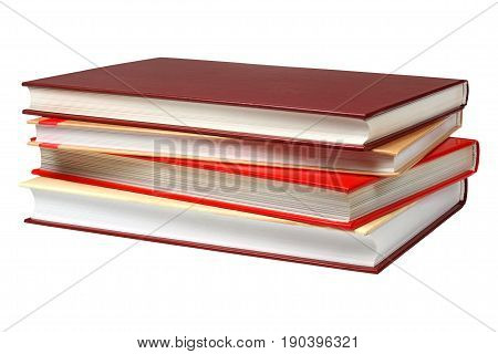 Stack of four books isolated on white background
