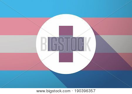 Long Shadow Transgender Flag With A Round Pharmacy Sign