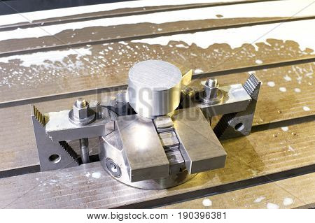 Industrial metal chuck die/mold. Metalworking and mechanical engineering. Lathe milling and drilling technology. CNC industry. Indoors horizontal image.