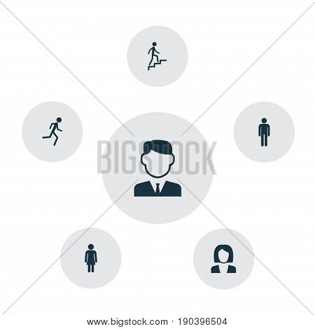 People Icons Set. Collection Of Businesswoman, Running, Gentleman And Other Elements. Also Includes Symbols Such As Woman, Climbing, Mister.