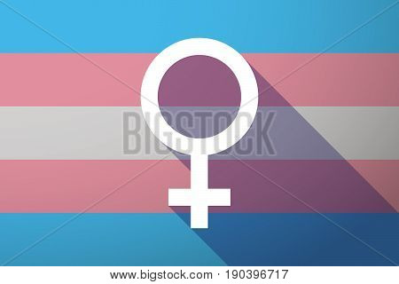 Long Shadow Transgender Flag With A Female Sign