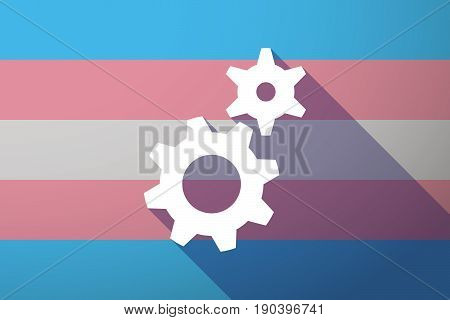 Long Shadow Transgender Flag With Two Gears