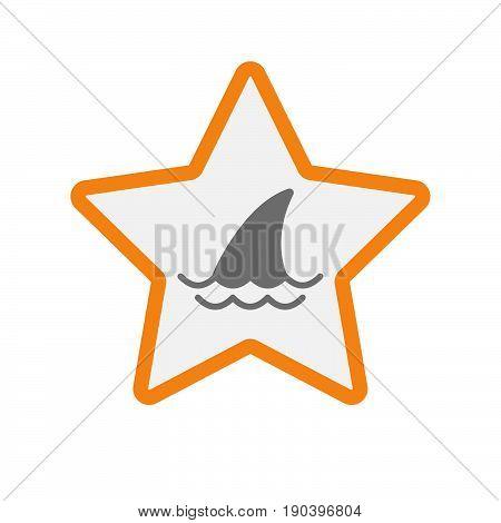Isolated Star With A Shark Fin
