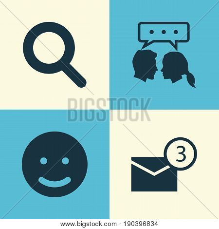 Social Icons Set. Collection Of Inbox, Conversation, Smile And Other Elements. Also Includes Symbols Such As Smile, Talking, Dialog.