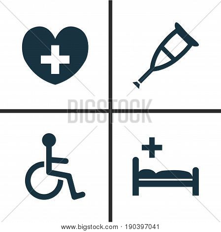 Antibiotic Icons Set. Collection Of Heal, Disabled, Spike And Other Elements. Also Includes Symbols Such As Invalid, Pharmacy, Heart.