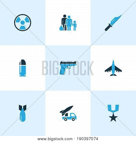Warfare Colorful Icons Set. Collection Of Refugee, Bullet, Medal And Other Elements. Also Includes Symbols Such As Aircraft, Medal, Military.