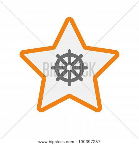 Isolated Star With A Dharma Chakra Sign