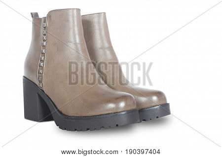 winter female boots isolated on white background