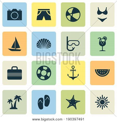 Season Icons Set. Collection Of Conch, Video, Smelting And Other Elements. Also Includes Symbols Such As Lemonade, Sun, Bikini.