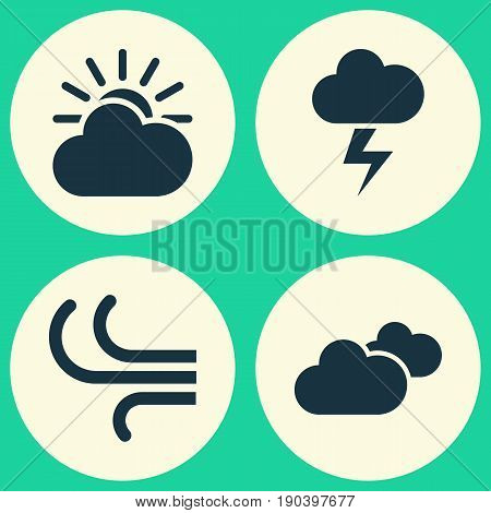 Weather Icons Set. Collection Of Lightning, Breeze, Weather And Other Elements. Also Includes Symbols Such As Overcast, Breeze, Cloud.