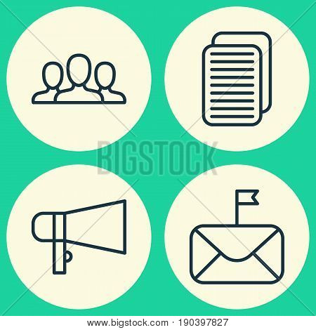 Network Icons Set. Collection Of Internet Site, Society, Bullhorn And Other Elements. Also Includes Symbols Such As Loudspeaker, Bullhorn, Mail.