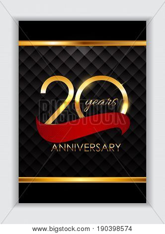 Template 20 Years Anniversary Congratulations Vector Illustration EPS10