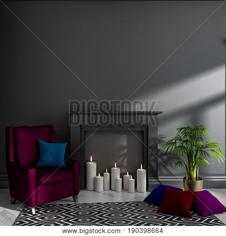 Empty darkened room with black wall, fireplace, candles, armchair, pillows, carpet and plant. Scandinavian interior. Mock up. 3d render illustration.