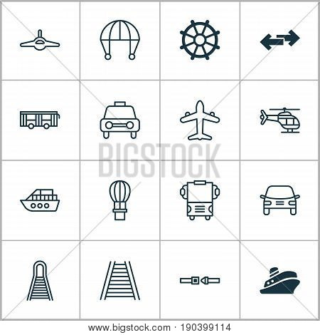 Delivery Icons Set. Collection Of Boat Helm, Railway, Travel Boat And Other Elements. Also Includes Symbols Such As Copter, Marine, Pointer.