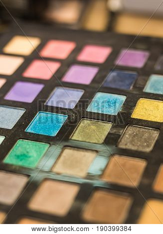 Make-up colorful eyeshadow palettes. set of decorative cosmetics, Eyeshadow Palette closeup