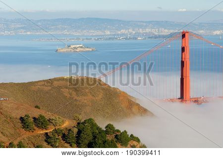 Beautiful Scenic Golden Gate, San Francisco City, California, Usa.