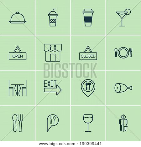 Eating Icons Set. Collection Of Check In, Mocha, Cutlery And Other Elements. Also Includes Symbols Such As Wine, Map, Mocha.