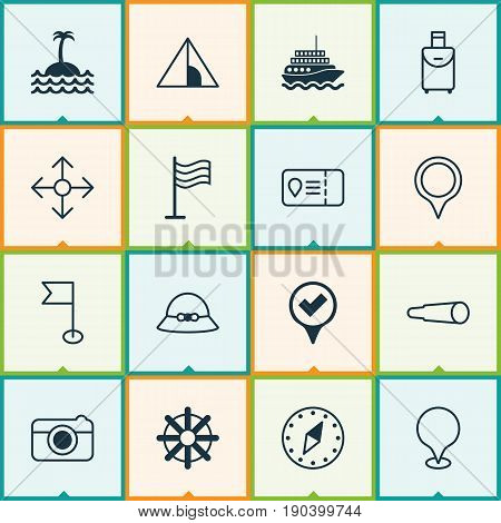 Travel Icons Set. Collection Of Cardinal Direction, Ensign, Woman Cap And Other Elements. Also Includes Symbols Such As Sea, Yacht, Road.