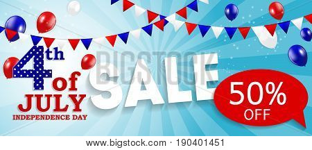 Fourth of July, Independence day of the United States Sale Banner. Happy Birthday America. Vector Illustration EPS10