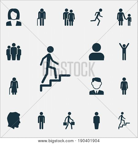 Human Icons Set. Collection Of Businesswoman, Ladder, Happy And Other Elements. Also Includes Symbols Such As Rejoicing, Ladder, Male.