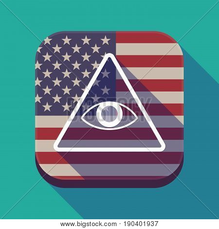 Long Shadow Usa App Button With An All Seeing Eye