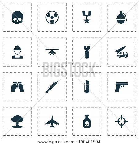 Army Icons Set. Collection Of Cranium, Target, Weapons And Other Elements. Also Includes Symbols Such As Sniper, Atom, Bio.