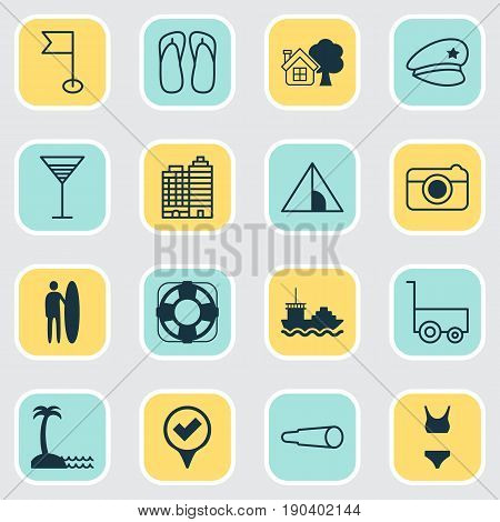 Travel Icons Set. Collection Of Cop Hat, Bathing Costume, Magnifying Glasses And Other Elements. Also Includes Symbols Such As Check, House, Building.
