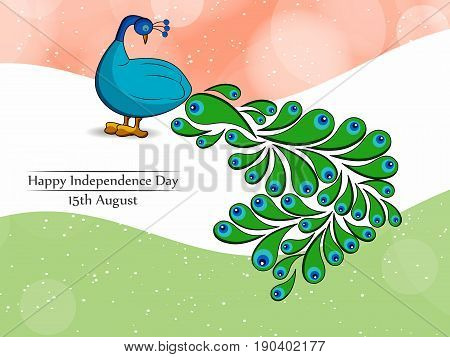 illustration of Peacock India national bird on India flag background with happy independence day text