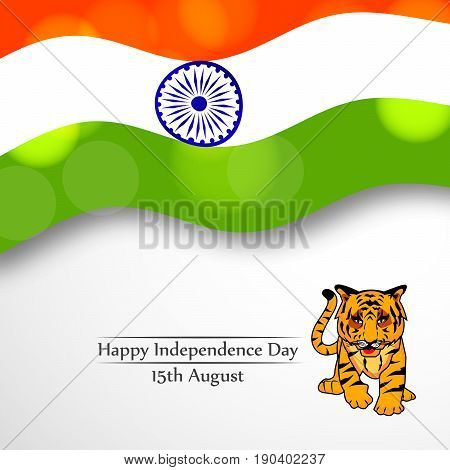 illustration of Tiger india national animal on background of India flag with happy independence day 15th August text on the occasion of India independence dat