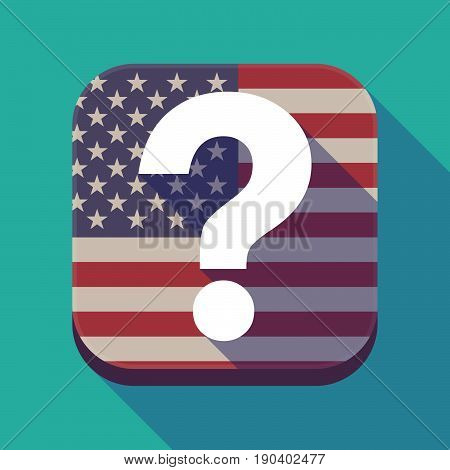 Long Shadow Usa App Button With A Question Sign