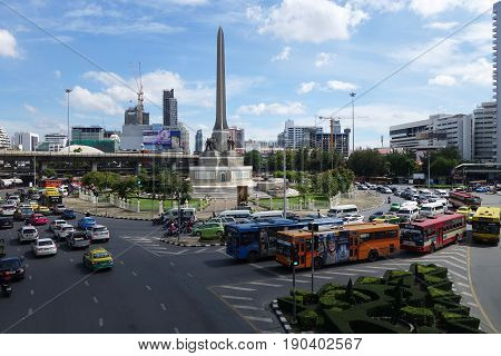 Transport Traffic In Victory Monument, Bangkok